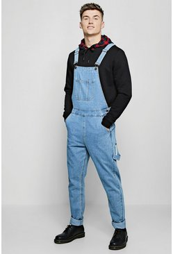 Mens Vintage wash Slim Fit Rigid Denim Overalls