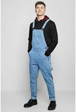 Vintage wash Slim Fit Rigid Denim Overalls
