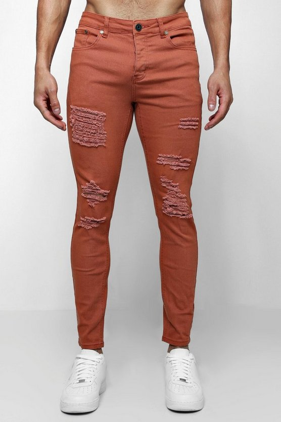 Rust Skinny Fit Jeans With All Over Rips