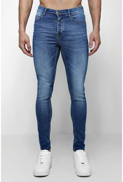 Spray On Skinny Jeans in blauer Waschung, Blau, Herren