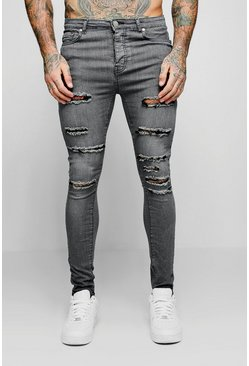 Mens Grey Spray On Skinny Jeans With All Over Rips