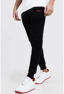 Mens Black MAN Dash Embroidered Skinny Joggers