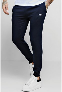 Mens Navy MAN Dash Embroidered Skinny Joggers