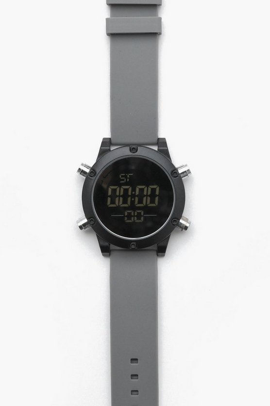 Grey Chunky Sports Digi Watch