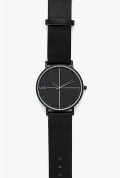 Mens Triple Black PU Strap Watch