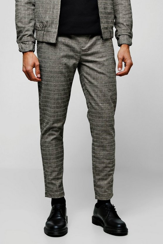 Mens Brown Heritage Mini Check Smart Jogger Co-ord