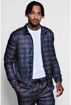 Mens Navy Heritage Check Smart Coach Jacket
