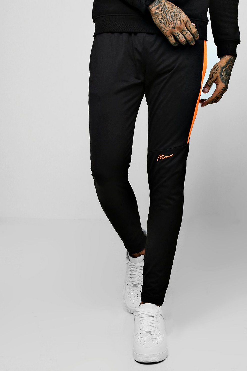 10bc581b7c43be Mens Black Tricot Super Skinny Man Joggers With Contrast Panel. Hover to  zoom