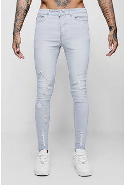 Spray on Skinny Jeans mit Rissen, Hellgrau, Herren