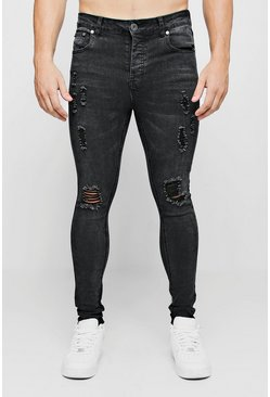 Mens Charcoal Ripped Knee Spray on Skinny Jeans