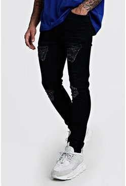 Mens Black Super Skinny Jeans with Distressed Knees & Thighs
