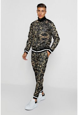 Mens Black Baroque Print Funnel Neck Skinny Fit Tracksuit