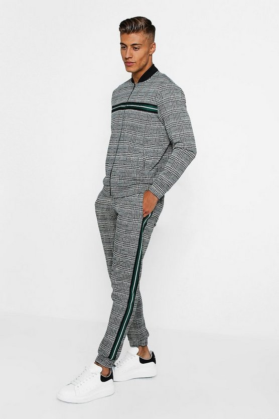 Mens Green Checked Taped Detail Tracksuit