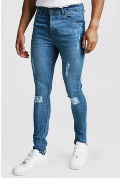 Spray On Skinny Jeans In Used-Optik, Mittelblau, Herren