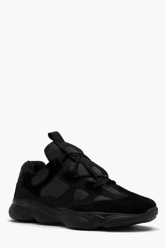 Black Contrast Panel Bubble Sole Mesh Chunky Trainer