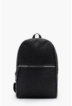 Mens Black Mono MAN Repeat Nylon & Faux Leather Rucksack
