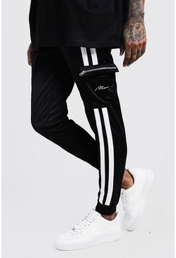 Mens Black Tricot Cargo MAN Joggers With Contrast Tape