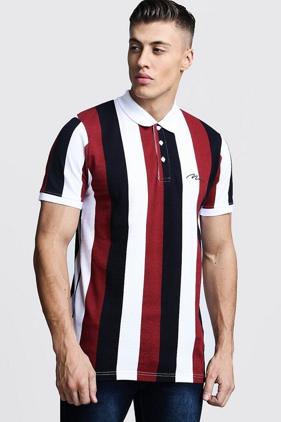 MAN Embroidered Striped Pique Polo