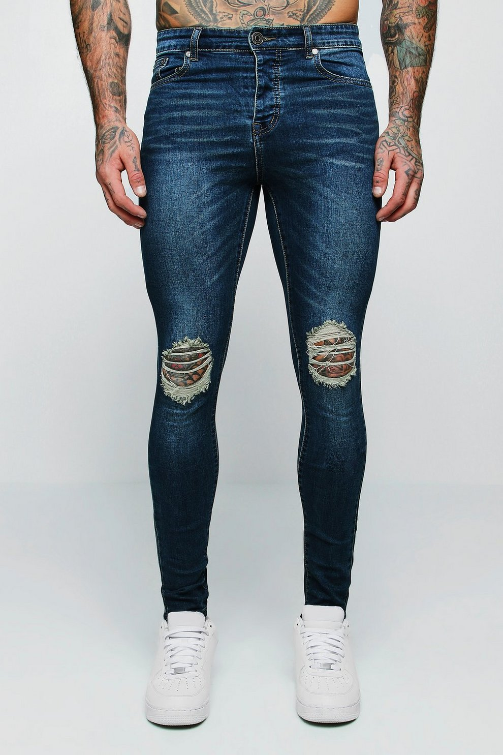 a61842a2c036 Mens Antique wash Spray On Skinny Jeans With Ripped Knees