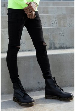 Black Super Skinny Jeans With All Over Rips