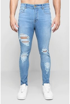 Washed blue Skinny Fit Jeans With All Over Rips