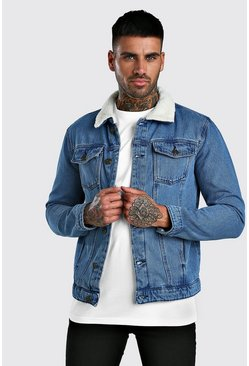 Mens Mid blue Borg Collar Regular Denim Jacket