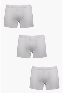 Mens 3 Pack MAN Dash Boxers In Grey