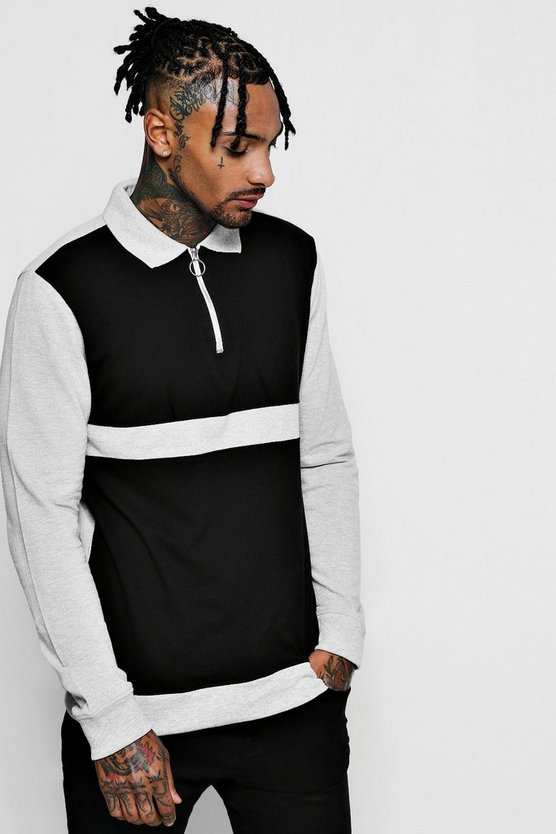 Black Long Sleeve Colour Block Pique Ring Pull Polo