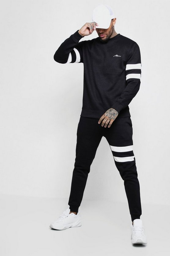 Black Contrast Sleeve Panel Sweater Tracksuit