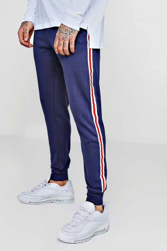 Navy Fleece Jogger with Side Tape