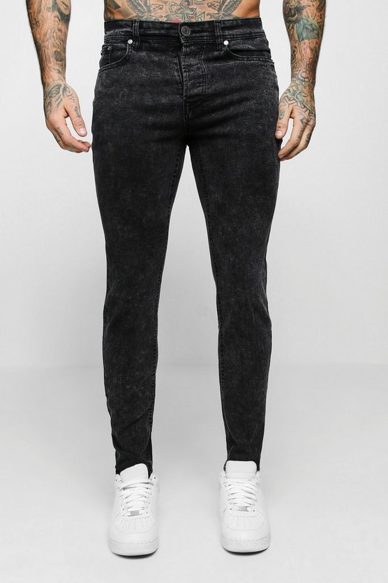 Mens Skinny Fit Charcoal Acid Wash Jeans