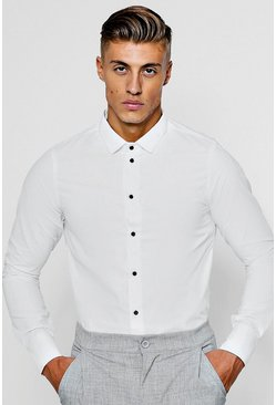 White Slim Fit Long Sleeve Shirt With Contrast Buttons