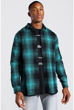 Mens Navy Long Sleeve Flannel Check Shirt