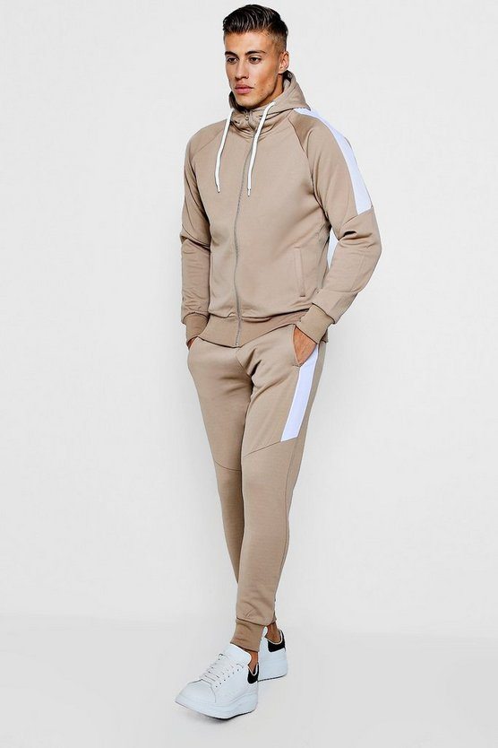 Stone Tricot Zip Through Tracksuit With Contrast Panels