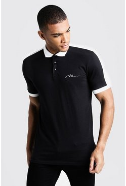 MAN Signature Colour Block Polo, Black