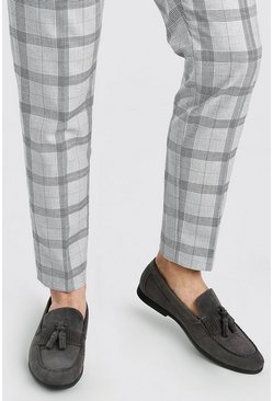 Grey Faux Suede Tassel Loafer With Fringing
