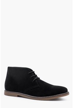 Black Gum Sole Faux Suede Desert Boot
