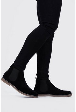 Mens Black Gum Sole Faux Suede Chelsea Boot