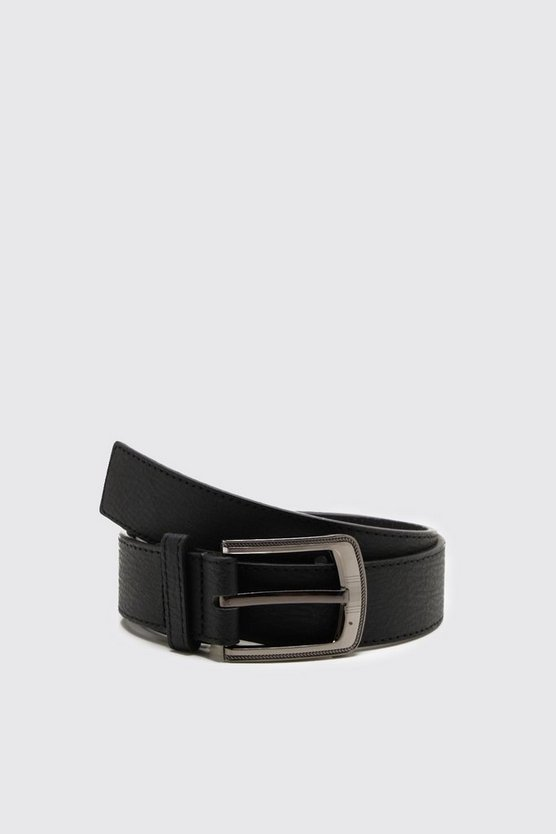 Mens Black Large Buckle Bonded PU Belt