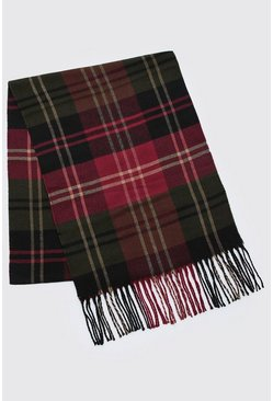 Red And Green Check Tassel Scarf