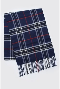 Mens Navy Check Knitted Tassel Scarf