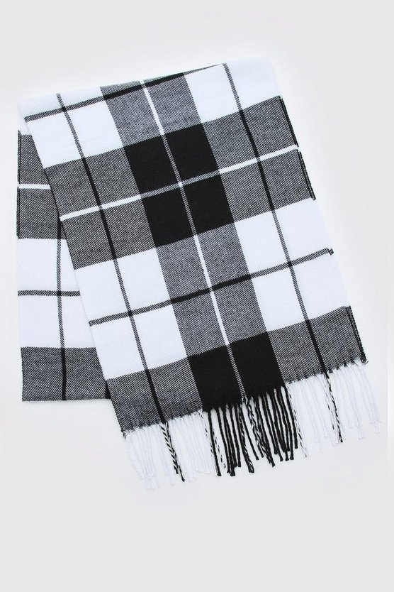 Black & White Check Tassel Scarf
