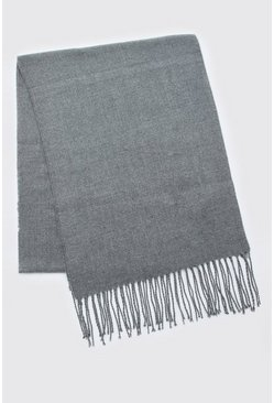 Mens Charcoal Plain Knitted Tassel Scarf