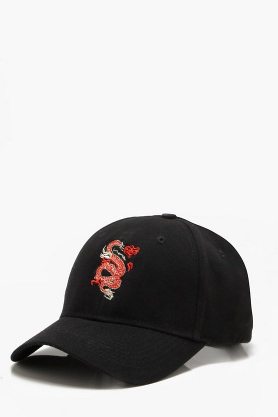 Black Gold Thread Dragon Embroidered Cap