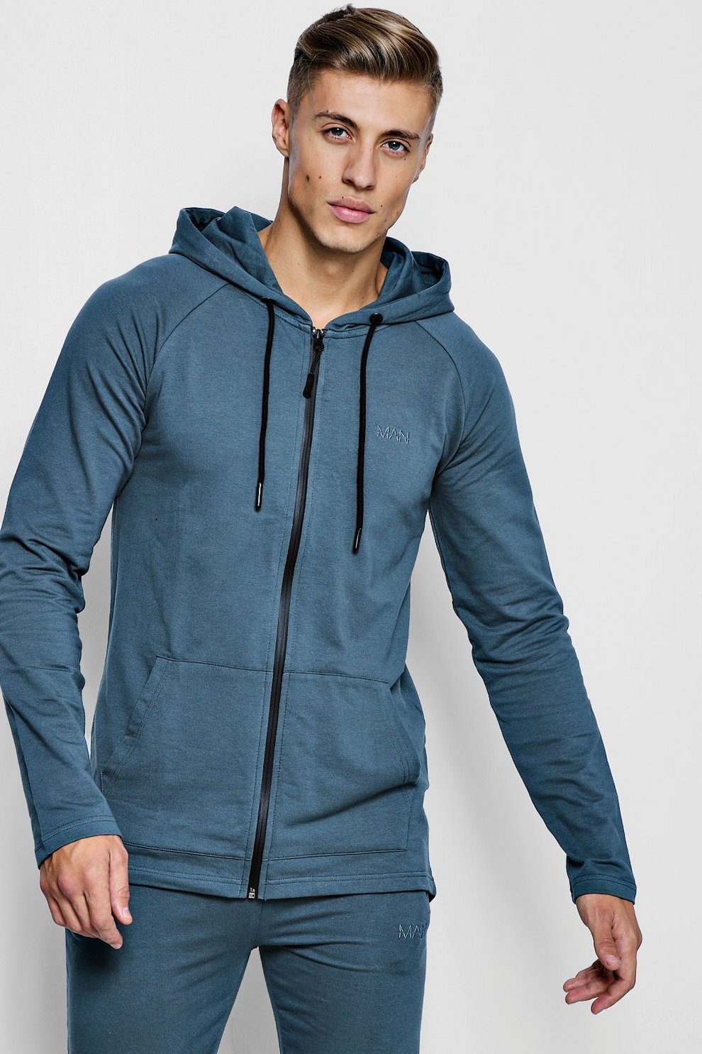 5323fbbce798 Active Zip Through Embroidered Gym Hoodie - boohooMAN