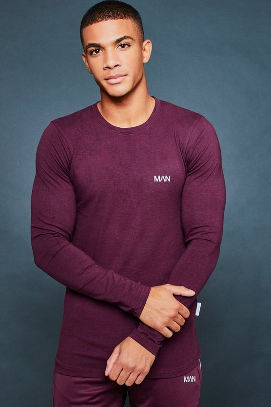 Wine Muscle Fit Long Sleeve Reflective Print Tee