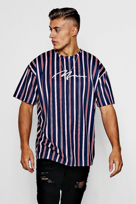 Mens Navy MAN Signature Embroidered Oversized Stripe T-Shirt