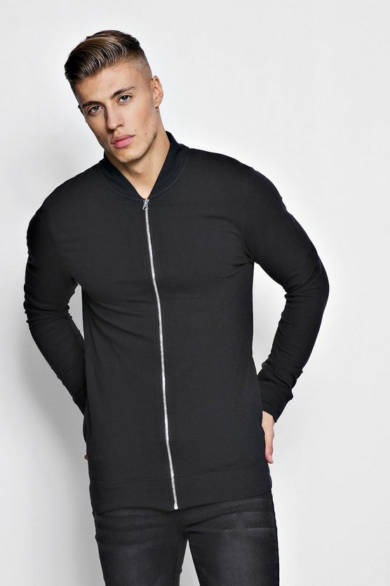 Black Muscle Fit Jersey Bomber Jacket