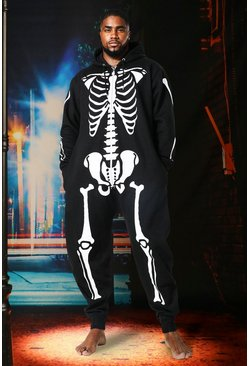 Black Big And Tall Halloween Skeleton Onesie