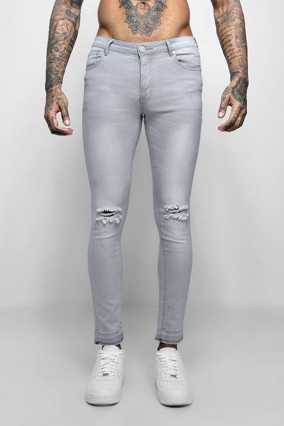 Mens Pale grey Super Skinny Raw Edge Distressed Jeans